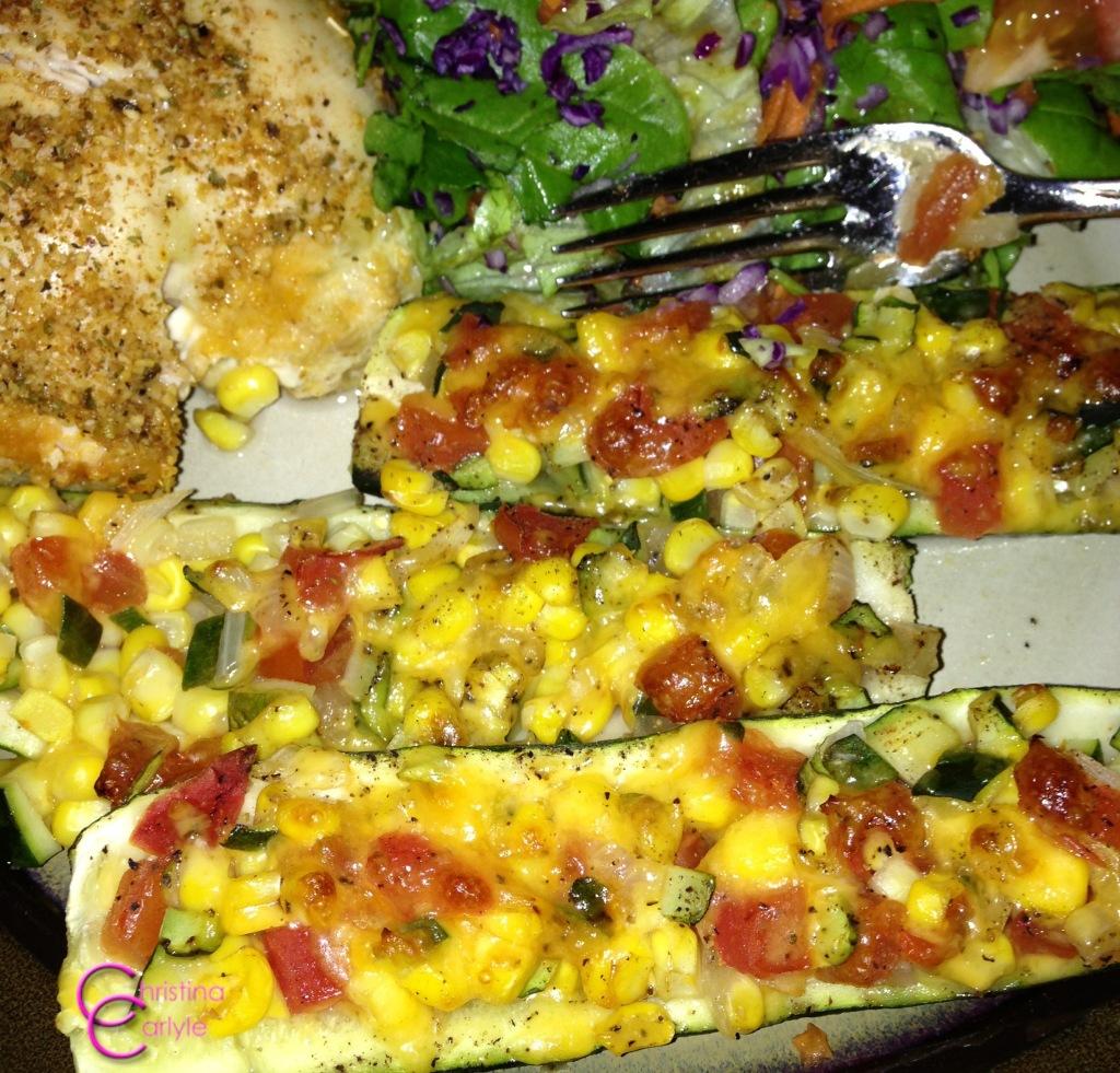 Stuffed Zucchini Boat Recipe by Christina Carlyle