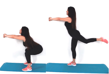 Squat with reverse kick exercise being done by Christina Carlyle