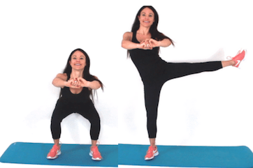 Squat with side leg lift squat challenge exercise being done by Christina Carlyle