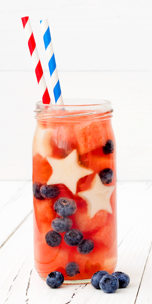 Watermelon, Blueberry water recipe | Healthy 4th of July Drinks Healthy 4th of July Recipes from nutritionist Christina Carlyle https://www.christinacarlyle.com/healthy-4th-of-july-recipes/