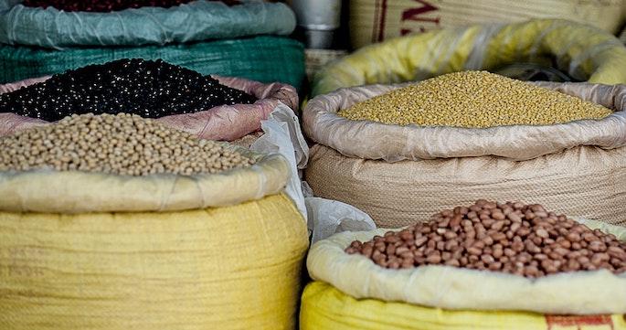 bulk beans in a market
