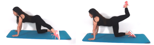 Cross over leg extension cellulite exercise being done by Christina Carlyle