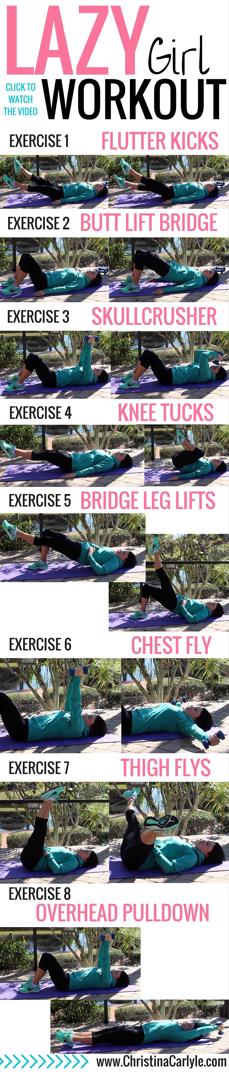 Lazy Girl workout | A fun Lazy Girl Workout for days when you're feeling lazy and don't want to workout. This lazy girl workout is perfect for busy women, beginners, and everyone that struggles with motivation to exercise. This lazy girl workout burns fat and you can do this lazy workout laying on your back.
