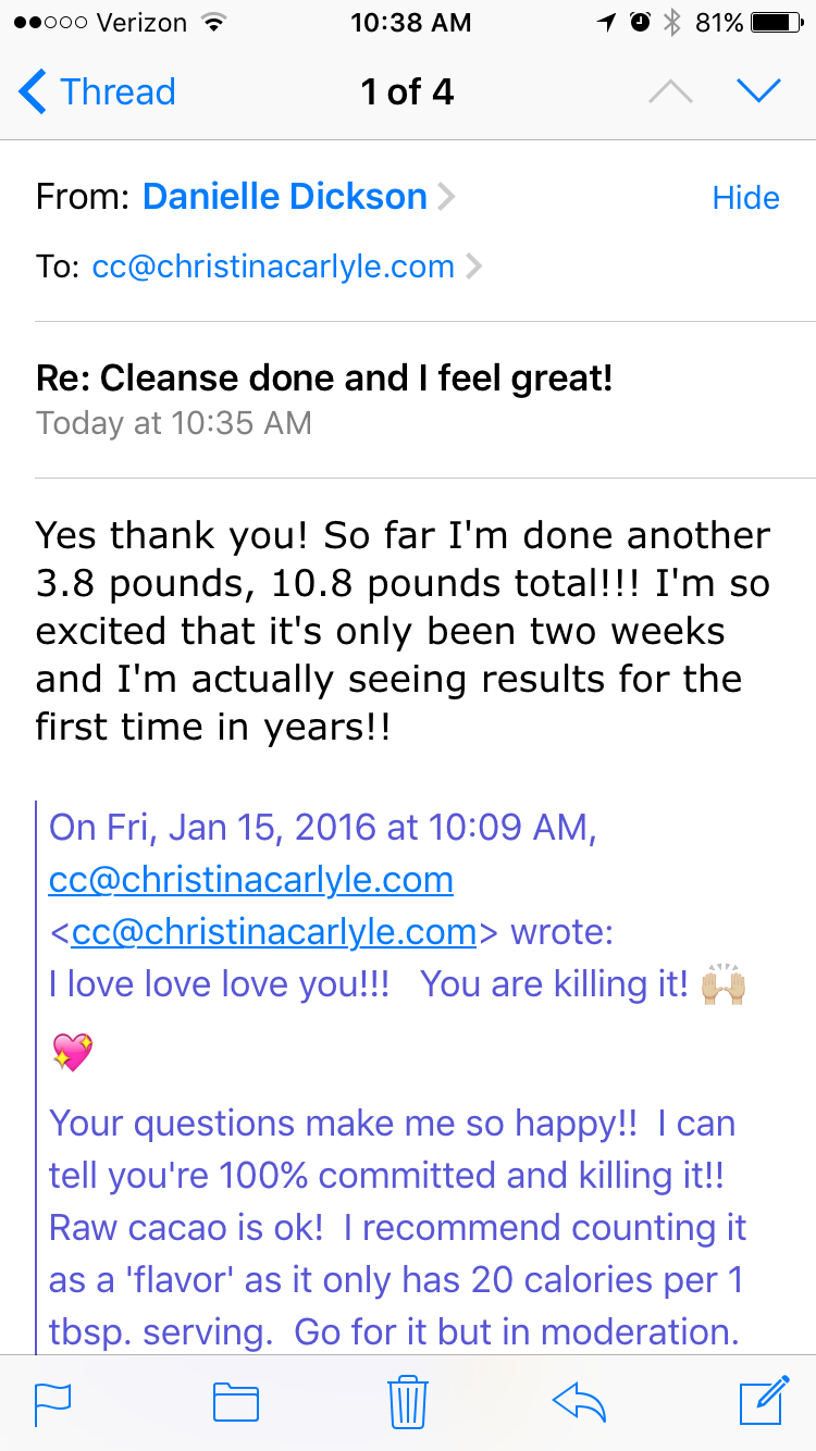 Eat Right Meal Plan Results - Christina Carlyle