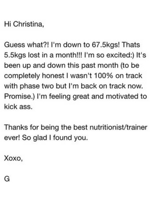 Reset Cleanse Testimonial - Christina Carlyle - Gail