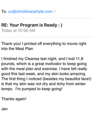 Reset Cleanse Testimonial - Christina Carlyle - Jen