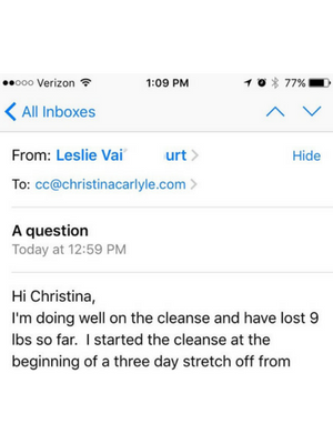 Reset Cleanse Testimonial - Christina Carlyle - Leslie