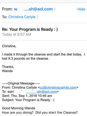 Wanda Reset Cleanse Results - Christina Carlyle