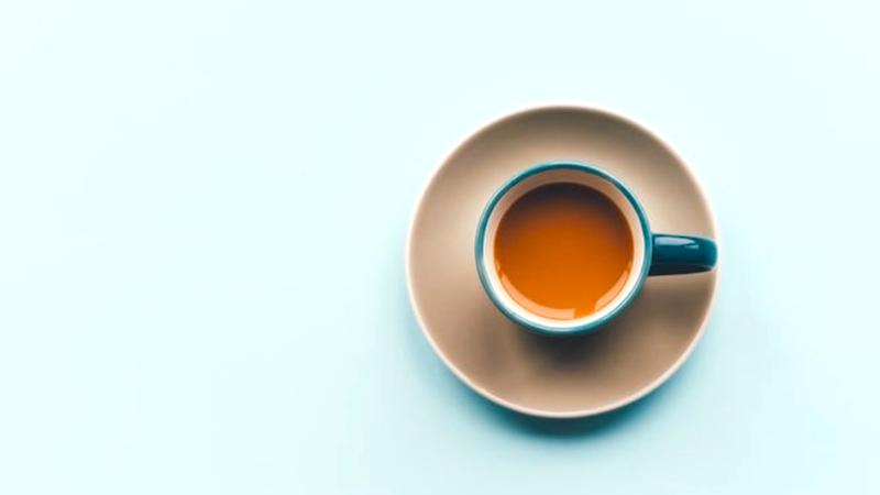 Pumpkin Spice Coffee on a blue background