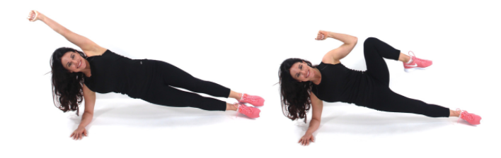 Trainer Christina Carlyle demonstrating a side plank tuck crunch exercise to get rid of love handles