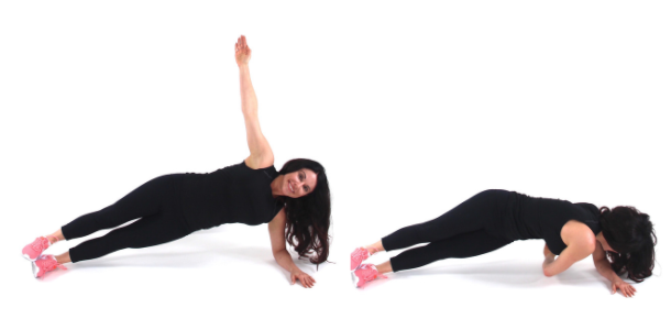 Thread the needle love handle exercise being demonstrated by trainer Christina Carlyle