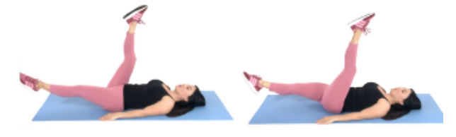 Scissor Kick lazy leg exercise being done by trainer Christina Carlyle