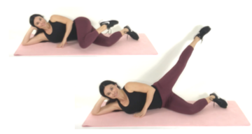 Knee Touch Extension outer thigh exercise done by trainer Christina Carlyle