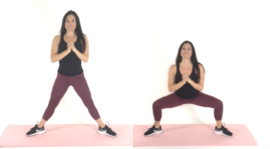 Plie Squat Inner thigh exercise being done by trainer Christina Carlyle