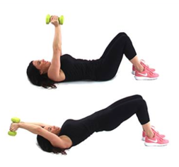 Christina Carlyle doing a pulldown bridge fat burning exercise for women