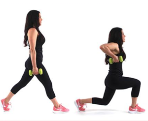 Christina Carlyle doing a lunge pull your pants up fat burning exercise