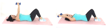 Trainer Christina Carlyle doing a Lazy Girl Around the World Exercise