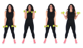 In and out Curls exercise done by Christina Carlyle