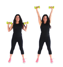 Overhead Press Beginner Arm exercise done by Christina Carlyle