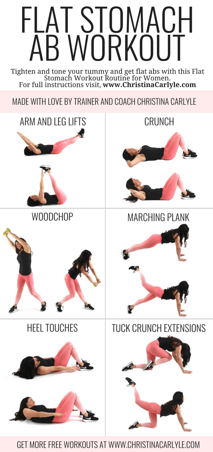 Flat Stomach Fat Burning Home Ab Workout Routine for Women and Beginners - Christina Carlyle - https://www.christinacarlyle.com/flat-stomach-fat-burning-ab-workout/