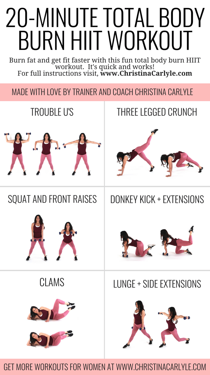 Trainer Christina Carlyle doing 6 different HIIT exercises in a HIIT workout and text that says HIIT Workout for Women
