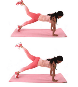Marching Plank Belly Fat Exercise being done by Christina Carlyle