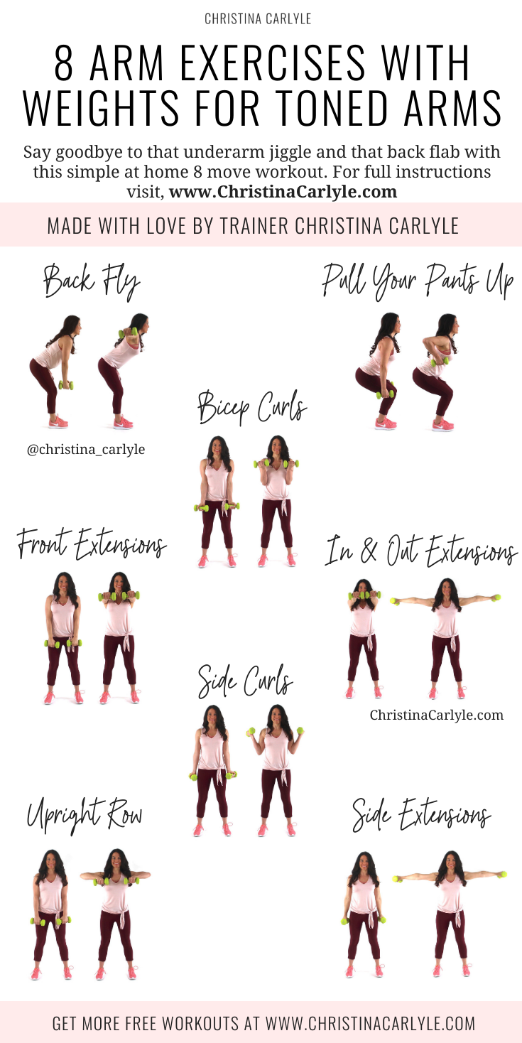 8 arm exercises with weights being done by trainer Christina Carlyle