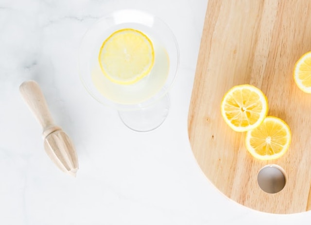 Lemon water ingredients on a countertop