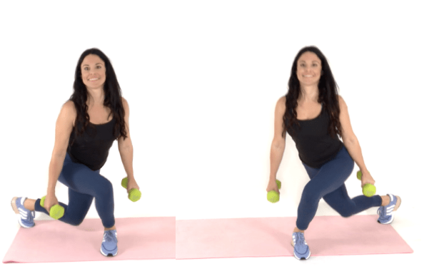 Curtsey Lunge Hip Dip Exercise being done by Christina Carlyle