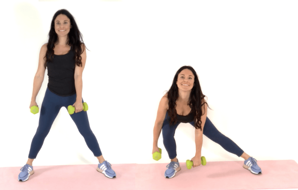 Side Lunge Hip Dip Exercise being done by Christina Carlyle