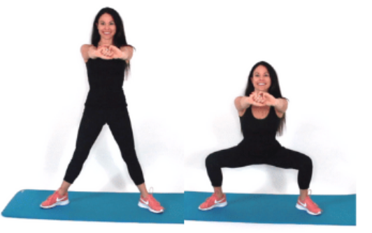 Plie Squat home exercise being done by Christina Carlyle