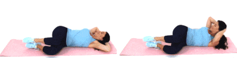 Christina Carlyle doing a side plank ab exercise at home