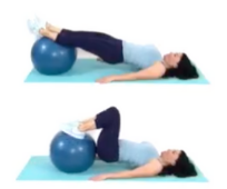 Hamstring Ball Tuck Home Leg Exercise being done by trainer Christina Carlyle https://www.christinacarlyle.com/home-leg-workout/