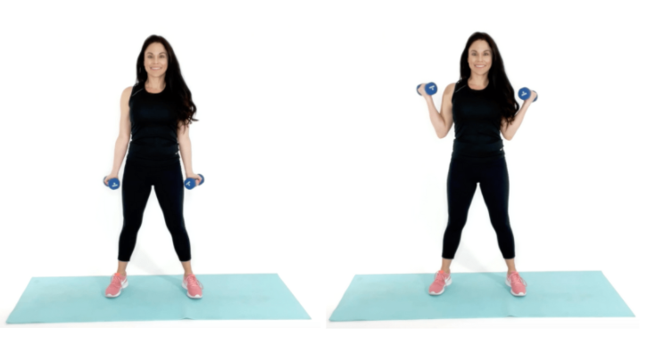 side curls beginner arm exercise being done by trainer Christina Carlyle