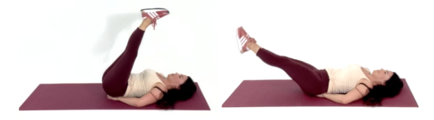 trainer Christina Carlyle doing a corekscrew ab exercise for her 10 minute ab workout