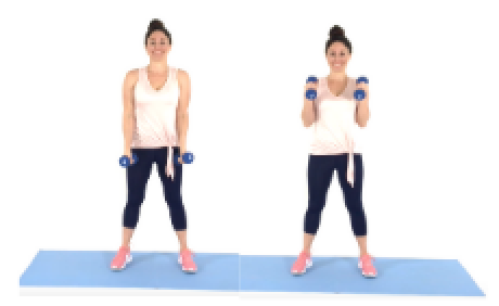 Christina Carlyle doing the Hammer Curl Arm Exercise at Home