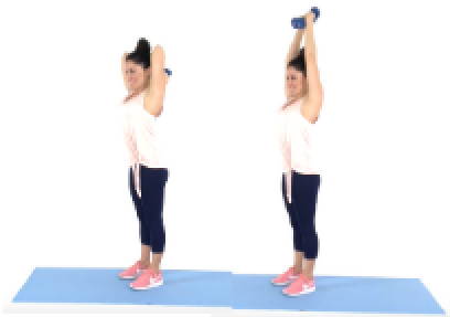Christina Carlyle doing the Overhead Tricep Extension Arm Exercise at Home