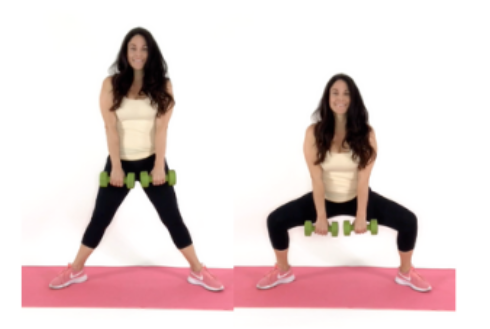 Plie Squat Inner thigh Exercise being done by Christina Carlyle