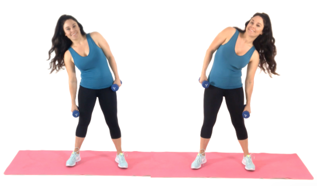 Dumbbell Side Dips exercise being done by Christina Carlyle