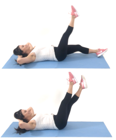 Toe Tap Crunch Ab Exercise being done by Christina Carlyle
