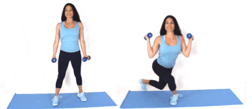 Curtsey Curl home exercise being done by Christina Carlyle